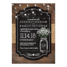 Burlap Baby Breath Wooden Wedding | Mason Jar Invitations