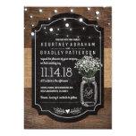 Burlap Baby Breath Wooden Wedding | Mason Jar Card