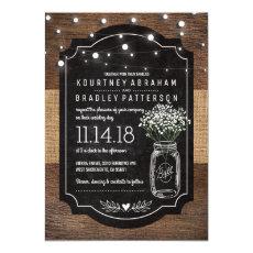Burlap Baby Breath Wooden Wedding | Mason Jar Invitations