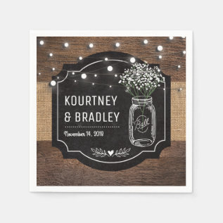 Burlap Baby Breath Wooden Wedding | Mason Jar Napkin at Zazzle