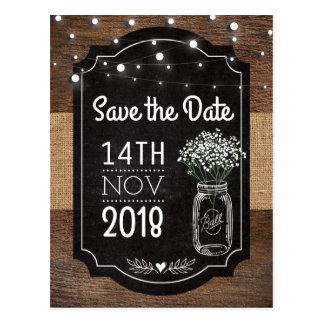 Burlap Baby Breath Wooden Wedding | Mason Jar Postcard