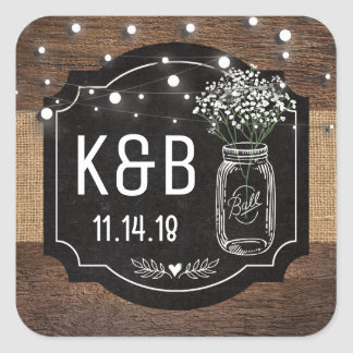 Burlap Baby Breath Wooden Wedding | Mason Jar Square Sticker