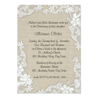 Burlap Baby Christening 5x7 Paper Invitation Card