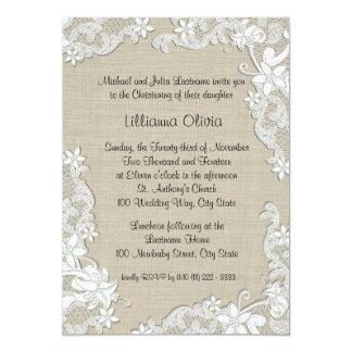 Burlap Baby Christening 5x7 Paper Invitation Card