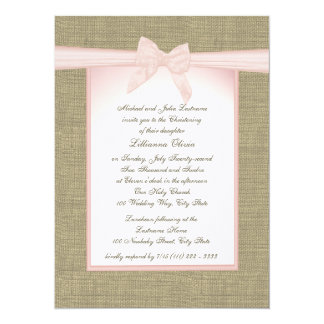 Burlap Baby Pink Christening 5.5x7.5 Paper Invitation Card