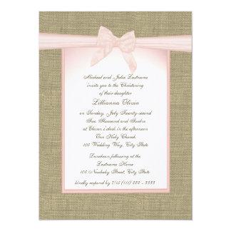 Burlap Baby Pink Christening Card