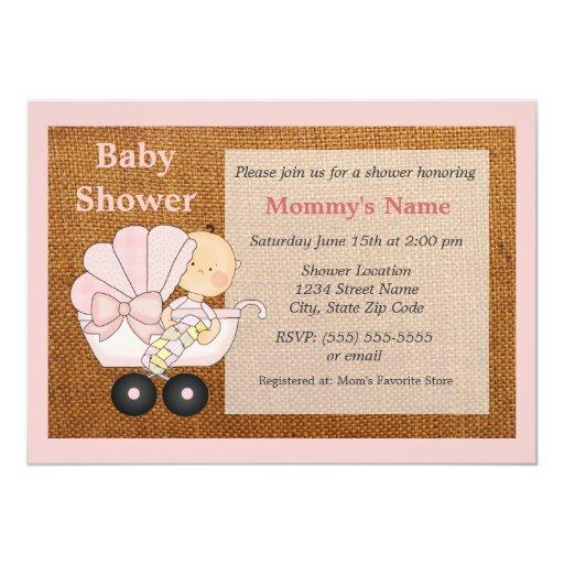 burlap baby shower invitation pink zazzle