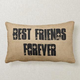 Burlap Best Friends Forever Lumbar Pillow