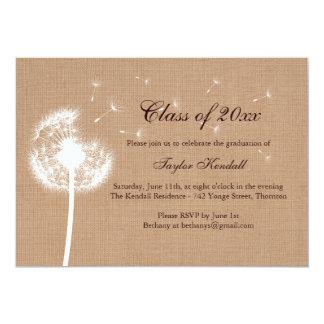 "Burlap Best Wishes Graduation Invitation 5"" X 7"" Invitation Card"