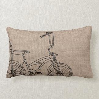 Burlap Bicycle Old Bike Lumbar Pillow