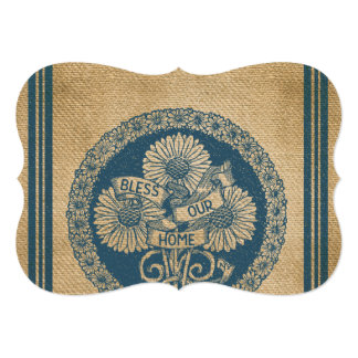 """Burlap Bless Our Home Vintage Look 5"""" X 7"""" Invitation Card"""