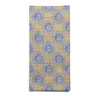 Burlap + Blue Flower Mandalas Round Motif Design 3 Cloth Napkin