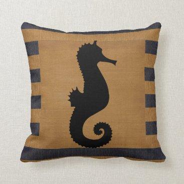 Beach Themed Burlap Blue & Tan Stripes with Nautical Seahorse Throw Pillow