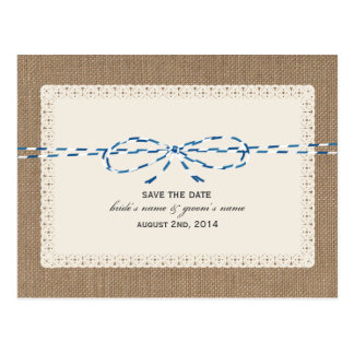 Burlap & Blue Twine Inspired Save Date Postcard