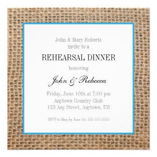Burlap & Blue Wedding Rehearsal Dinner Invite