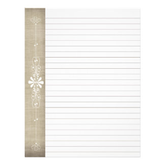 Burlap Board Border Brown   White Lined Pages