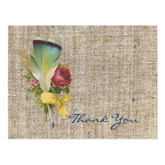 burlap boho feather wildflower bohemian thank you postcard
