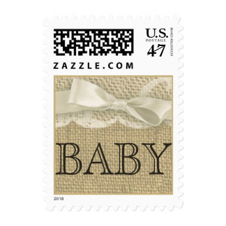Burlap Bow and Lace Baby Postage