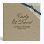 Burlap Bow and Lace Look Printed Recipe Vinyl Binders