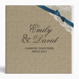 Burlap Bow and Lace Look Printed Recipe 3 Ring Binders