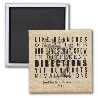 Burlap Branches on a Tree Family Reunion Quote 2 Inch Square Magnet