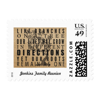Burlap Branches on a Tree Family Reunion Quote Postage Stamp