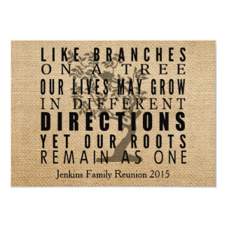 Burlap Branches Tree Family Reunion Card