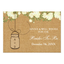 burlap bridal shower Advice Well Wishes Card