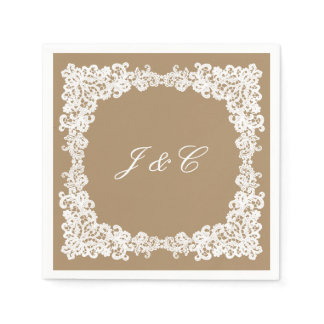 Burlap brown and white lace cocktail napkin