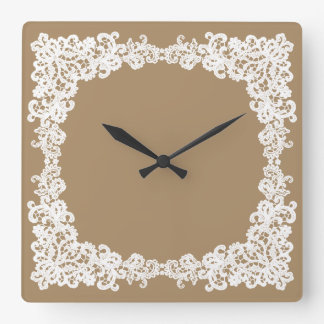 Burlap brown and white lace square clock