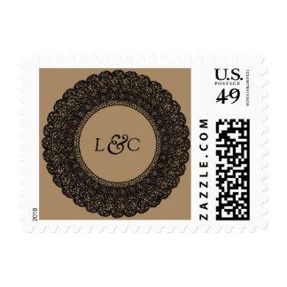 Burlap brown & black lace custom postage stamp