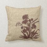Burlap brown wildflower decorative pillow