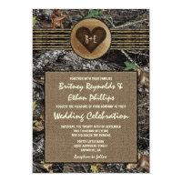 Burlap + Carved Heart Camo Wedding Invitations (<em>$2.15</em>)
