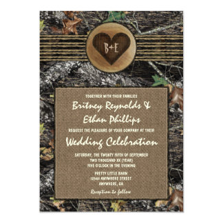 Burlap Carved Heart Camo Wedding Invitations