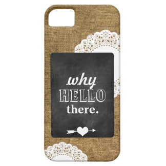 Burlap Chalkboard and Doily iPhone 5 Case