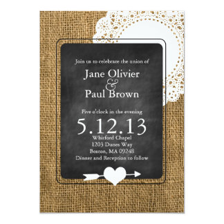 Burlap, chalkboard, and Doily Wedding Invitation
