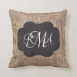 Burlap Chalkboard Look Triple Monogrammed Script Throw Pillow