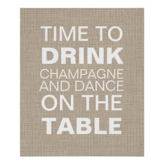 Burlap Champagne Party Poster Posters