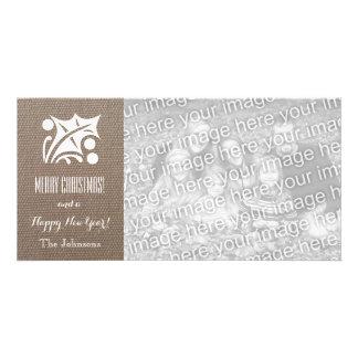 Burlap Christmas cards with custom Holiday photo Photo Card Template