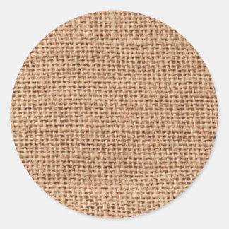 Burlap Classic Round Sticker