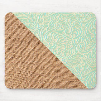 Burlap Coastal Mint Green White Vintage French Mouse Pad