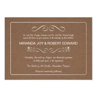 Burlap Coffee Bean Brown Wedding Invitations