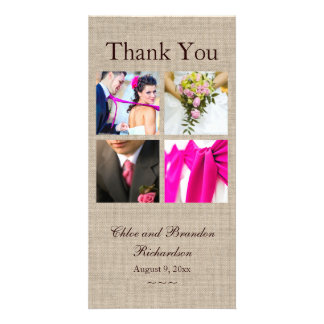 Burlap Collage Thank You Photo Card