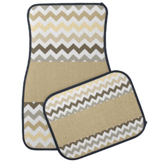 Burlap Colors Chevron Car Floor Mat