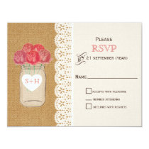 burlap, coral roses in mason jar wedding RSVP Card