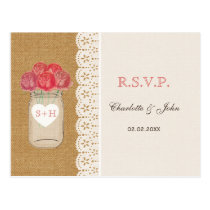 burlap, coral roses in mason jar wedding RSVP Postcard