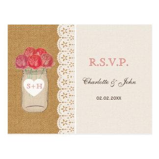 burlap, coral roses in mason jar wedding RSVP Postcard