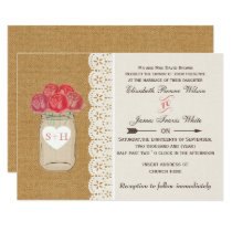 burlap, coral roses mason jar wedding invitations