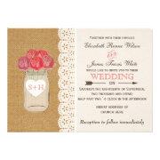 burlap, coral roses  mason jar  wedding invites by mgdezigns