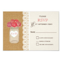 burlap, coral roses mason jar wedding RSVP 3.5 x 5 Card